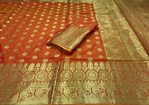 New Orange banarasi silk saree with heavy zari rich pallu and heavy blouse piece 3003