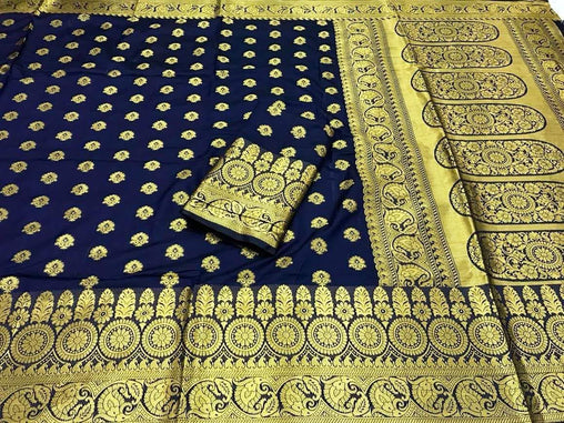 Navy Blue  banarasi silk saree with heavy zari rich pallu and heavy blouse piece 3002