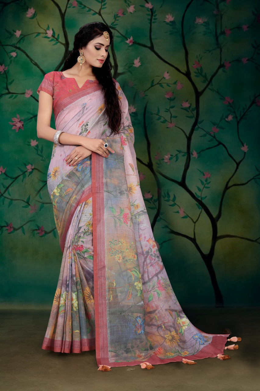 Pure Linen Pink Flower design Digital Print Saree 2024