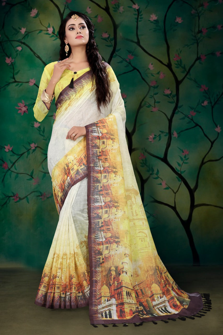 Pure Linen Yellow heavy design Digital Print Saree 2026