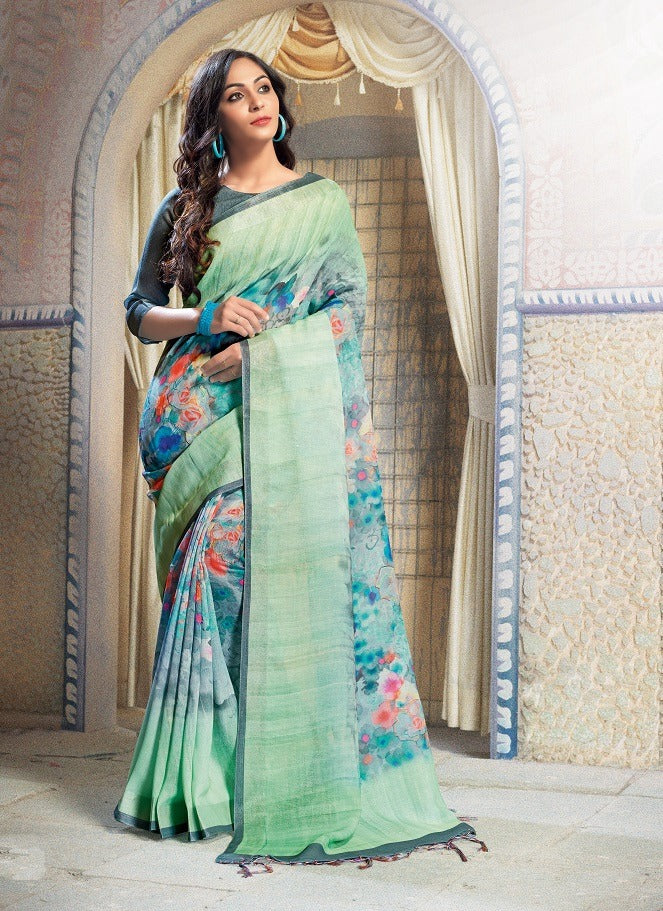 Linen Flower design Rama Sblue Silk  Mahendi Digital Print Saree 1067