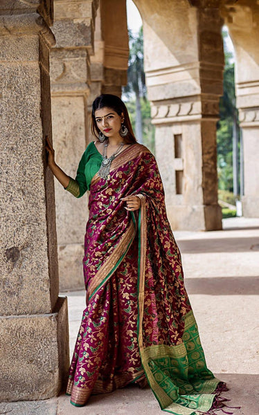 Multi Maroon Silk Weaving Patola with Zari border and Rich Pallu With Contrast Blouse