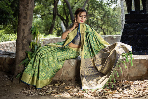 Green Silk Weaving Patola with Zari border and Rich Pallu With Contrast Blouse
