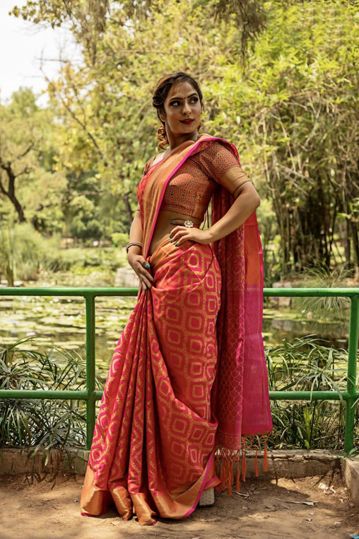 Ideal New Orange Silk Weaving Patola with Zari border and Rich Pallu With Contrast Blouse