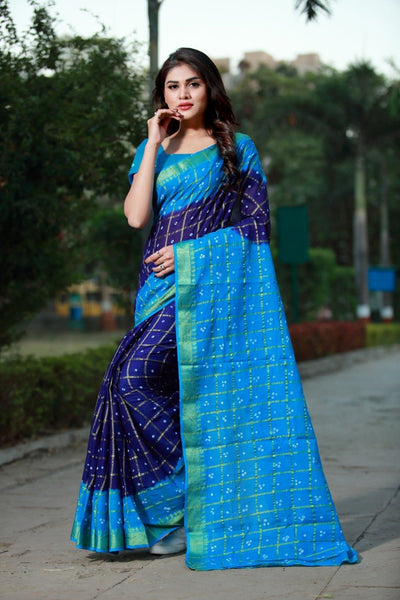 Blue & Skyblue  Ghanchola Pure Cotton Handicraft Bandhani Saree 3050