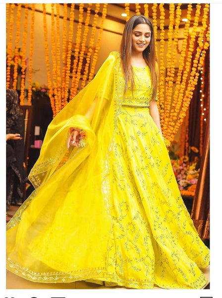 Yellow Lehenga choli   S R 440