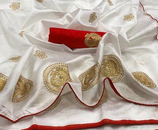 Embroidered Sana Silk Saree jd-03-White Red