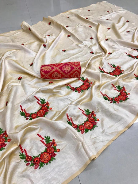 Embroidered Paper Silk Saree jd-04-White