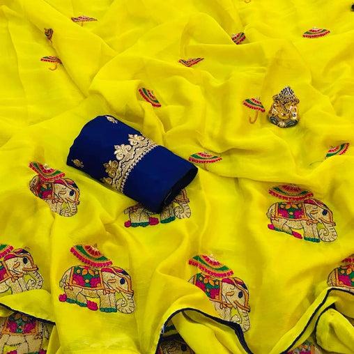 Embroidered Chiffon Saree jd-01- Yellow