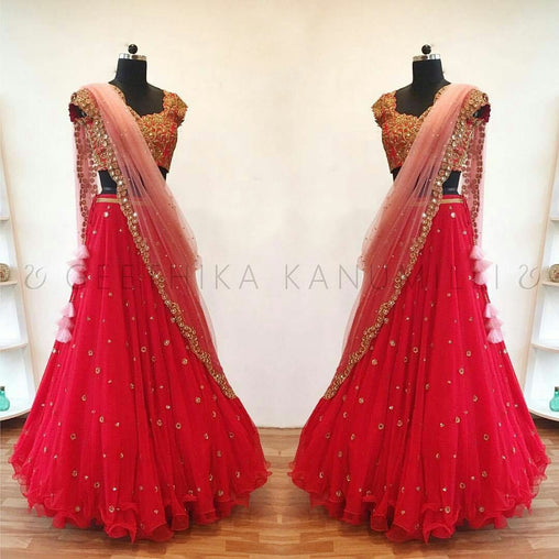 Dimanding Red  Embroiderey Designer Lehnga Choli