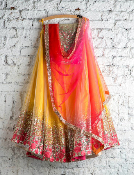 Extraordinary Yellow & Red  Embroiderey Designer Lehnga Choli