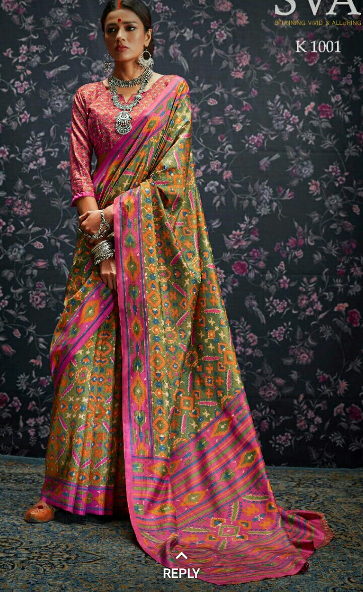 Multi Colour Designer Laila Cotton SIlk  Saree 1001