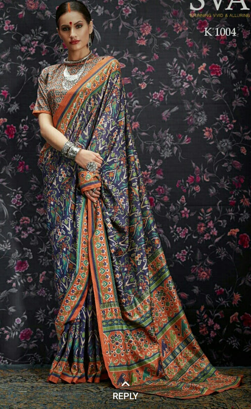 Multi Colour Designer Laila Cotton SIlk  Saree 1004