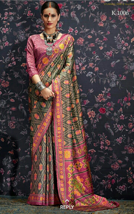 Multi Colour Designer Laila Cotton SIlk  Saree 1006