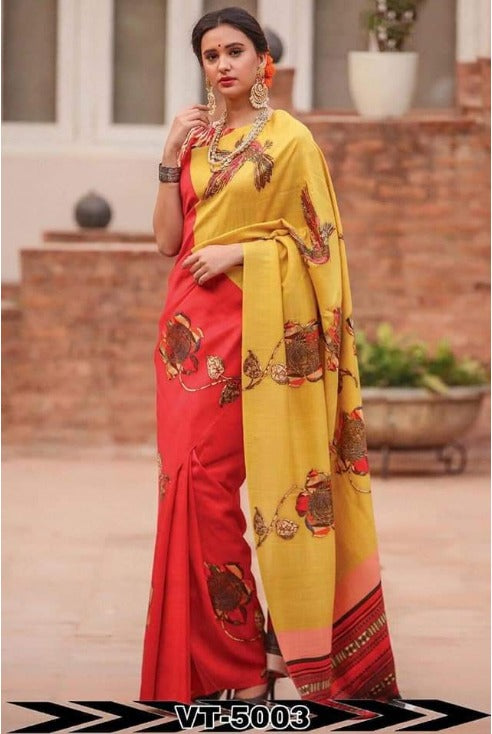 Linen Cotton Red & Yellow  Digital Print Saree  JD1113