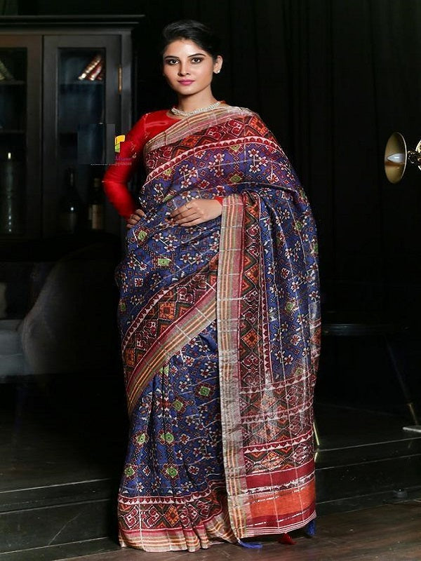 Pure Linen Flower Design Blue Digital Print Saree Jd1002