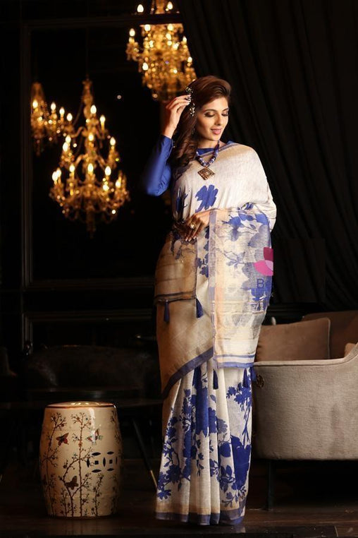 Pure Linen Flower Design Blue Digital Print Saree Jd1006