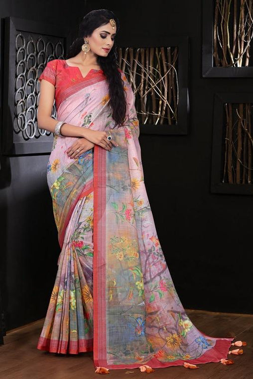 Pure Linen Flower design Flower Digital Print Saree JD1177