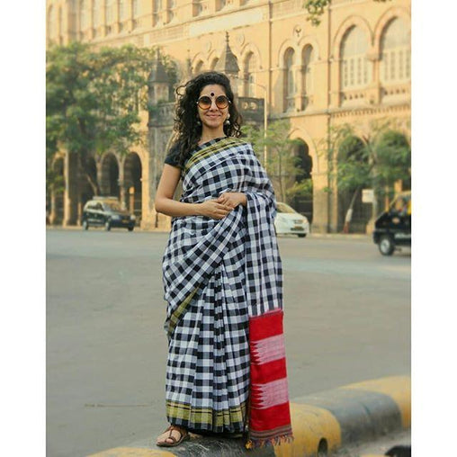 Checks Designer Linen Digital Printed Saree JD1499