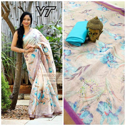 Sky Color Flower Linen Digital Printed Saree JD1502