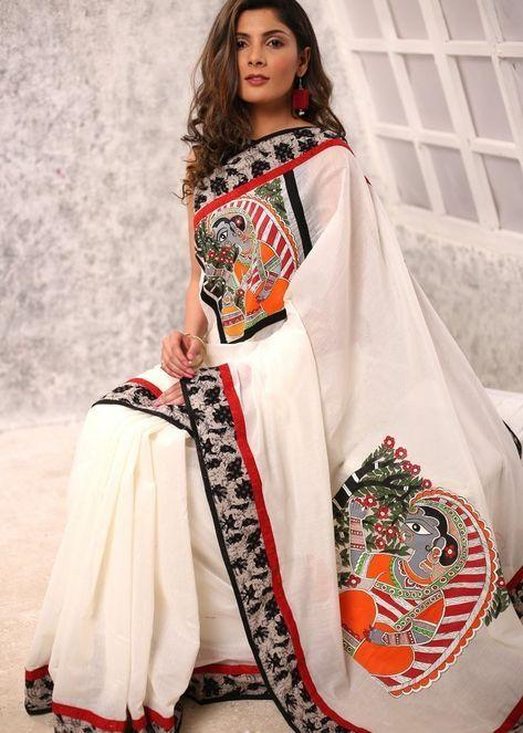 Fancy Cotton Kalamkari Linen  Printed Saree 1839