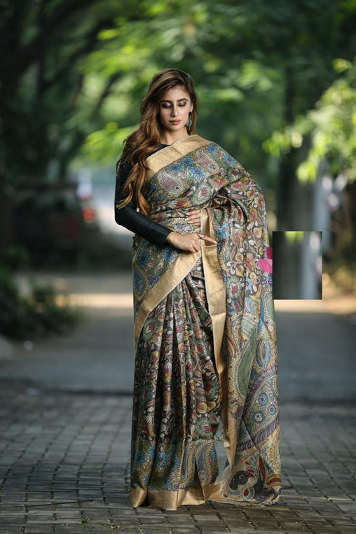 Pure Linen Flower design Flower Digital Print Saree JD1001