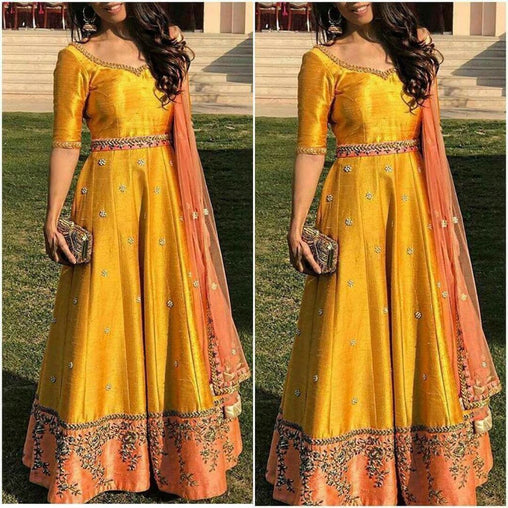 Beautiful Yellow desinger embroidery Dress