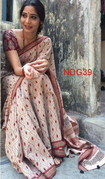 Linen Cotton Cream & Chocolate Border  Digital Print Saree 1011 JR