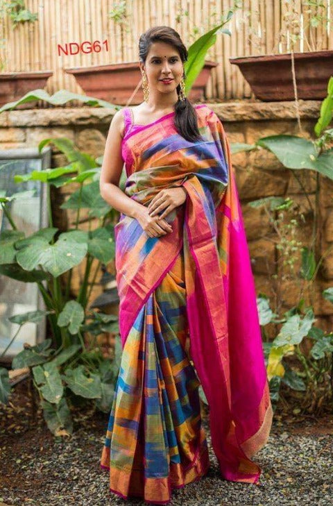 Linen Cotton Blue Orange & Pink Pallu  Digital Print Saree  1009 JR