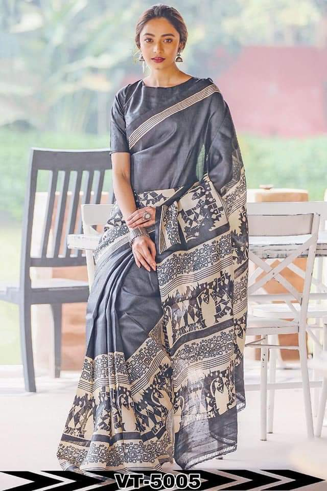 Linen Cotton Grey  Digital Print Saree  JD1125