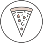 An icon of a pizza depicting speeds food breakdown