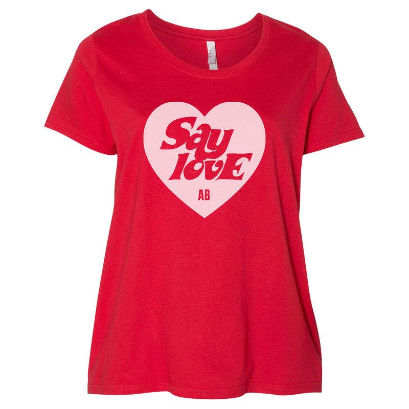 Women's Curvy Fit Say Love T-shirt