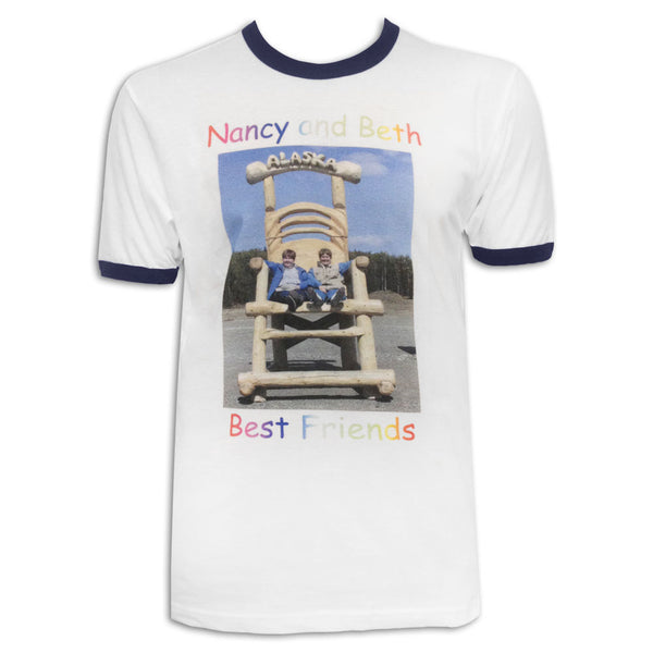 Best Friends White/Navy Ringer Tee