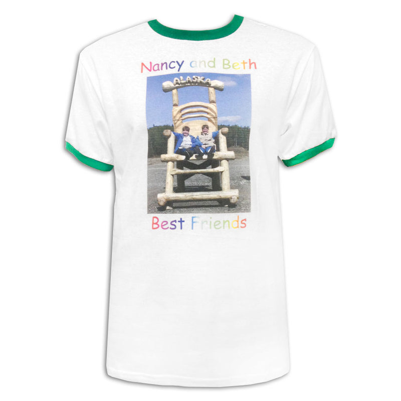 Best Friends White/Green Ringer Tee