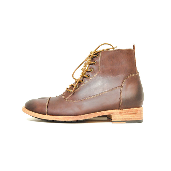 Cap Toe Boot Distressed Mahogany