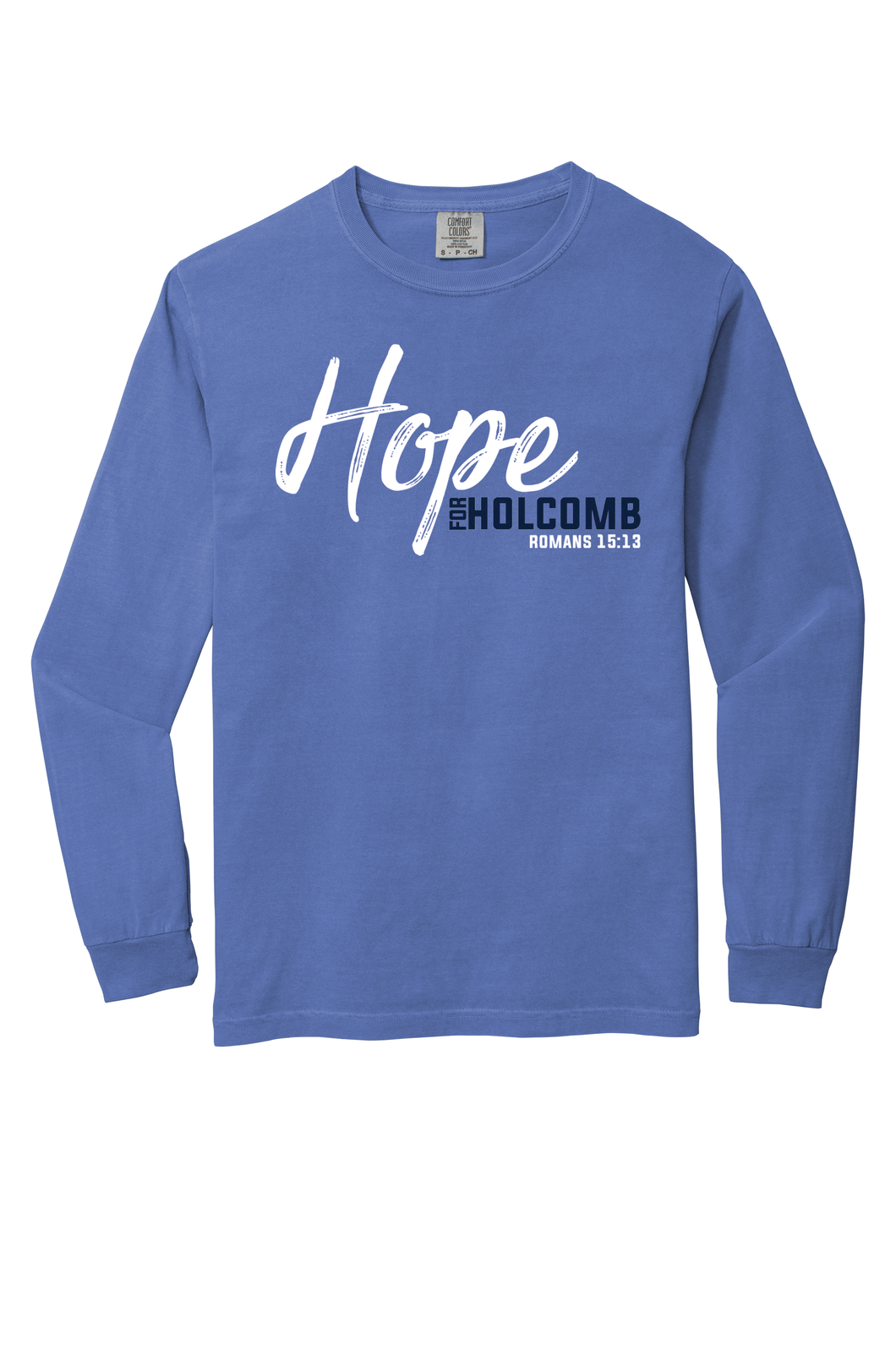 Adult Comfort Colors Long Sleeve T-shirt in Flo Blue