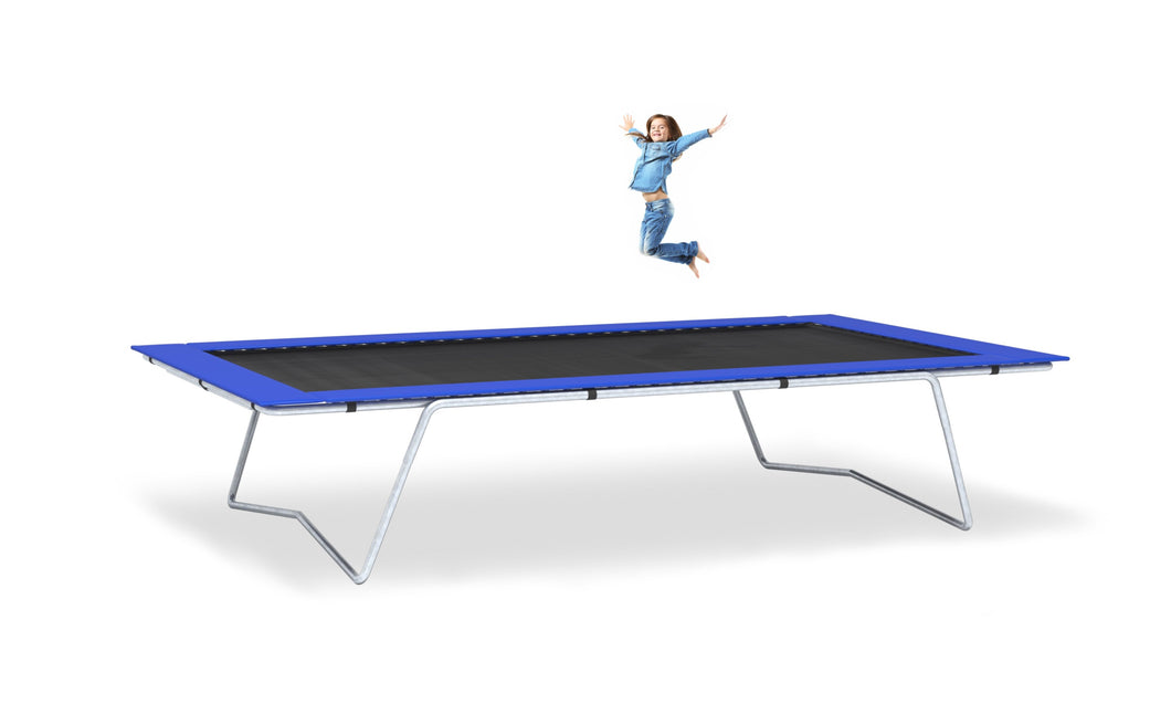 Girl Jumping on 10x17 Trampoline with Blue Frame Pads