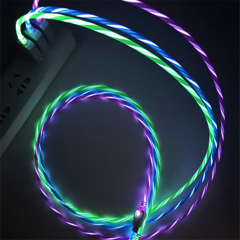 LED Glow Flowing Charging Cable for iPhone & Android