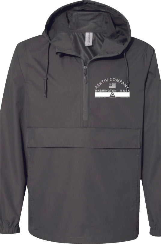 1/4 zip windbreaker- graphite