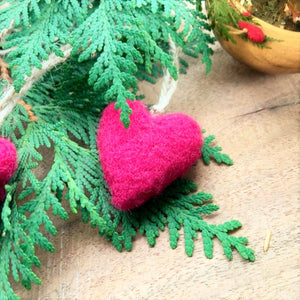 Handfelted Heart Ornaments (Set of three)