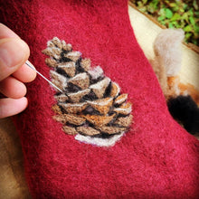 Load image into Gallery viewer, Handfelted Pinecone Christmas Stocking