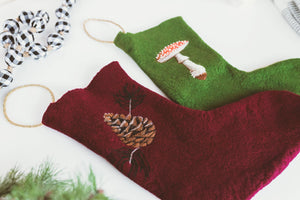 Handfelted Pinecone Christmas Stocking