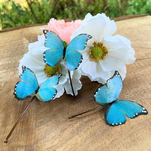 Handpainted Blue Silk Butterfly Hairpin