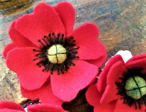 Handcrafted Red Poppy Hair/Accessory Pin (Made from Felt fabric that is 100% recycled water bottles!)
