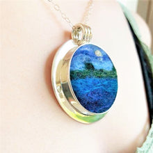 Load image into Gallery viewer, Full Moon on the Lake Felted Pendant