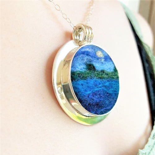 Full Moon on the Lake Felted Pendant