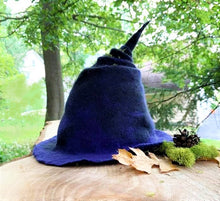 Load image into Gallery viewer, Hand felted Witch Hat (Order by October 10, 2020 for delivery by Halloween!)