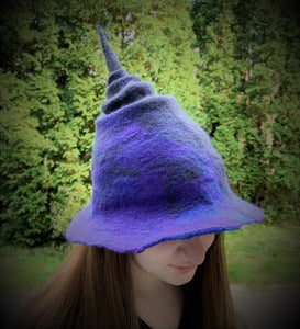Hand felted Witch Hat (Order by October 10, 2020 for delivery by Halloween!)