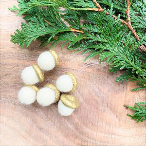 Handfelted White Acorn Ornaments (Set of Six)