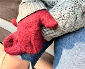 Hand-felted (extra long) mittens